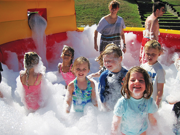 Campers played with the bubble machine at the JCC during the summer.
