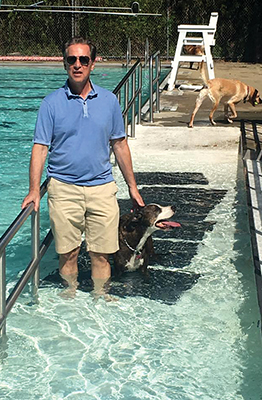 Marty Schneer, Executive Director of the JCC, playing with the dogs at the Doggie Dip event held by the JCC on September 17.