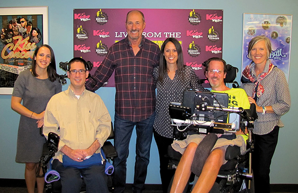 From left to right: Kristen Donnelly, Chelsea Jewish Foundation; Jack Guilfuss, LFCL resident; Matt Siegel KISS 108; Joelle Smith, Chelsea Jewish Foundation; Judy Mastrocola, Chelsea Jewish Foundation; in the KISS 108 studio.
