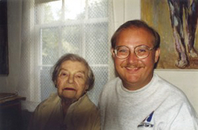 A young Walter Manninen with his friend, painter Theresa Bernstein, in the late 1980s when she was in her nineties. Bernstein's and her husband William Meyerwitz's work represents about 25% of the 400 pieces of art Manninen has donated to Endicott College from his personal collection.