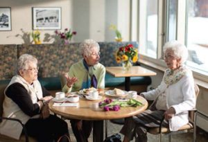 Residents at Hebrew Senior Life enjoy socializing with friends and meeting new residents.