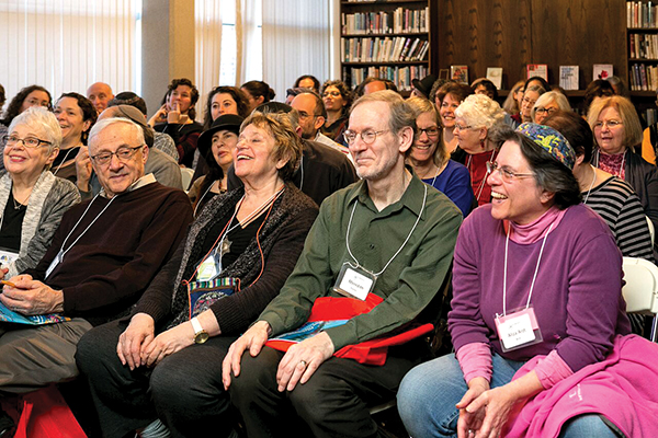 "The joy of learning fills the faces of ""Limmudnicks"" at a session held during last year's conference. This year's gathering will be held on December 4 at Temple Reyim in Newton."