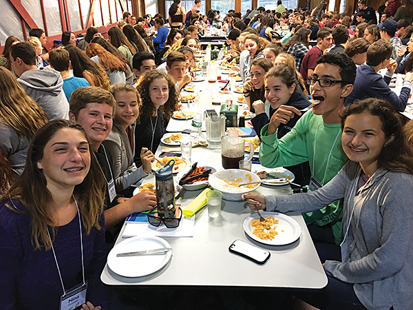 Fourteen students from North Shore Teen Initiative joined more than 250 other teens for a weekend of leadership training at URJ Eisner Camp in Great Barrington. Pictured above, clockwise: Nina Cushinsky, Jacob Abbisso, Elise Chigier, Emily Zieff, Michelle Slezinger, Ben Birnbach and Marissa Samuels.
