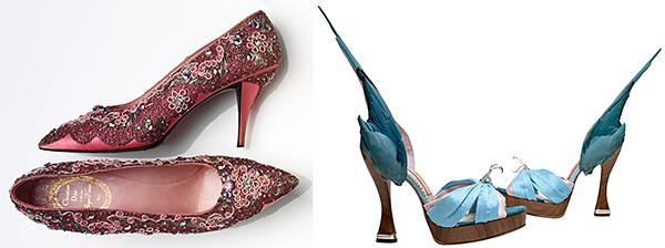 "Pictured above, left: Roger VIvier, for Christian Dior, evening shoes, 1958-60. Right: Caroline Groves, ""Parakeet,"" 2014"