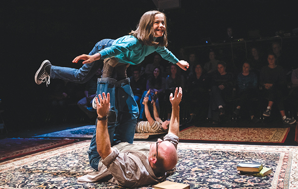 """Marissa Simeqi as Small Alison and Todd Yard as her father Bruce play """"airplane"""" in """"Fun Home."""" Photo by Nile Scott Studios"""