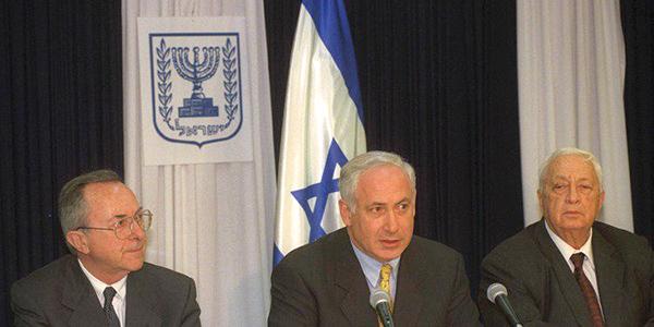 Moshe Arens, Benjamin Netanyahu and Ariel Sharon.