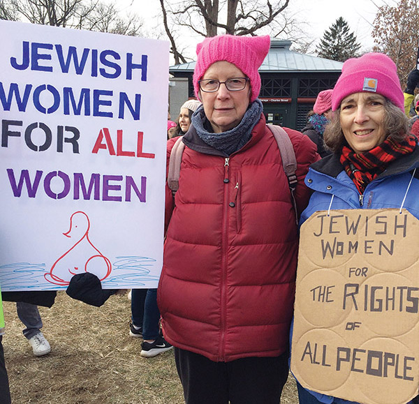 Joelle Gunther of Lexington, on left, and Annette Koren of Waltham, of Temple Emunah, emphasize unity. Photos by Bette Keva
