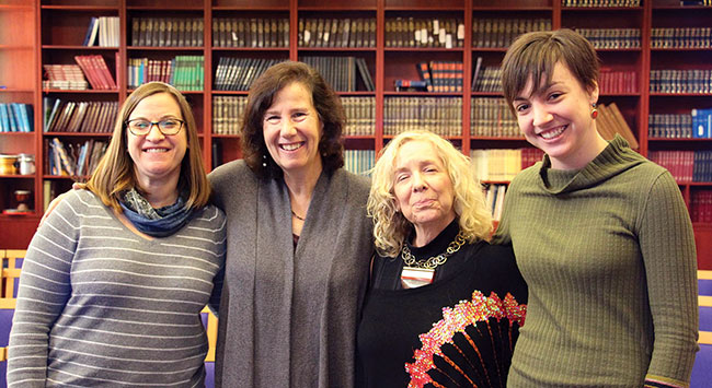 Rashi Rabbi Sharon Clevenger, Needham; Rashi Social Justice Coordinator, Stephanie Rotsky, Needham; Rashi Middle School Dean of Students Joni Fishman, Natick; Award Honoree Liza Comart, West Roxbury.