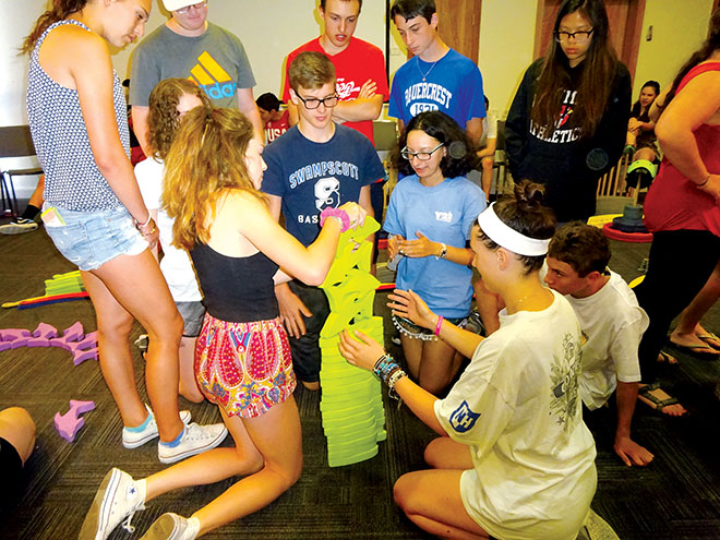 Y2I teens join in a team-building exercise.