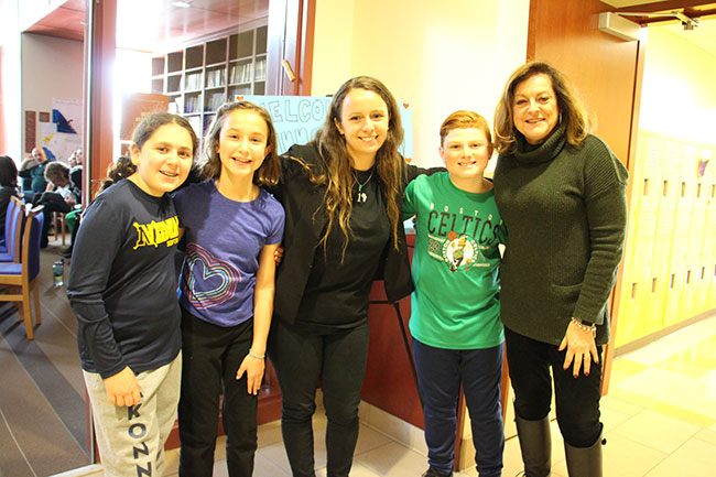 Rashi students Alli, Alexis, and Sam join Emily Schoenfeld of Inno­vation Africa and Heidi Chapple, Head of the the Lower School.
