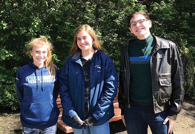 2018 Derek Sheckman Award recipients: Haley Lakind, Arly MackRosen, and Kevin MacDonald.
