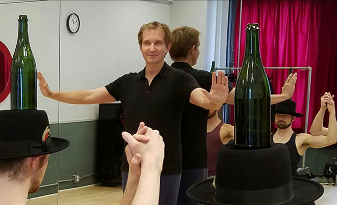"Staś Kmieć, a Haverhill native, teaches the Bottle Dance in ""Fiddler on the Roof."" / Photo courtesy of Staś Kmieć"