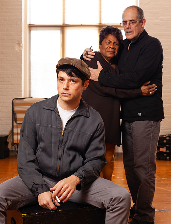 "Raviv Ullman, Tina Fabrique and Joel Colodner in ""A Haunted Life."" / Photo by Meghan Moore"