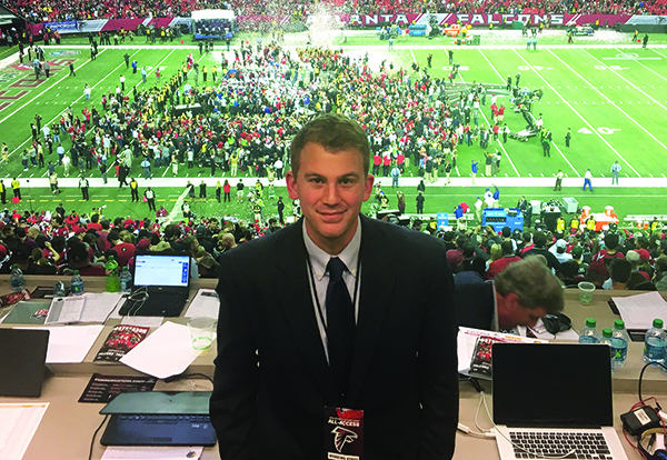 Andrew Hirsh reporting at an Atlanta Falcons game