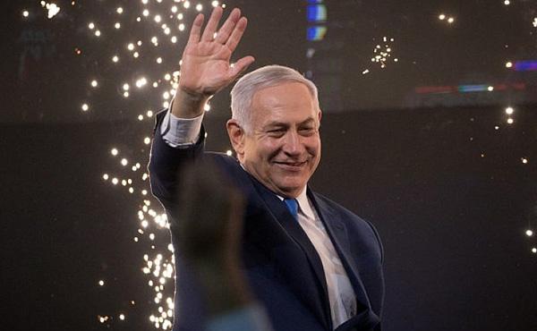 Benjamin Netanyahu celebrated his victory in Tel Aviv Wednesday morning. Photo by Yonatan Sindel/Flash90