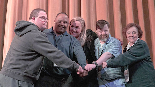 "Festival Director Mara Bresnahan and subjects of the documentary ""Far From the Tree"" kick off the 2019 Boston ReelAbilities Film Festival. / Photo by Arturo Real"
