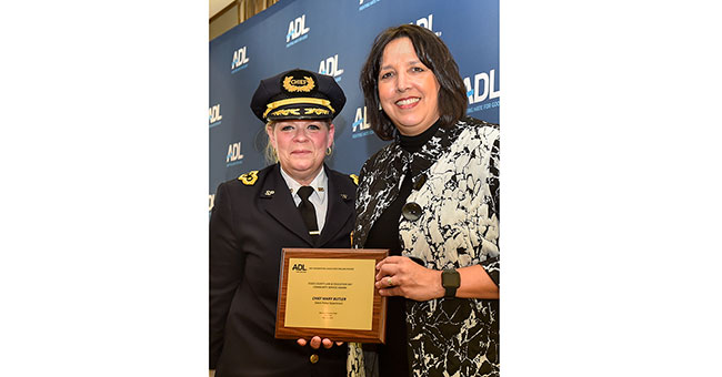 Salem Police Chief Mary Butler with Salem Mayor Kim Driscoll.