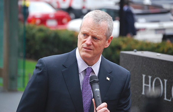 """""""We love you for your faith,"""" Governor Charlie Baker told the crowd at Sunday's vigil for the victims of the Poway shooting.  Photo: Steven A. Rosenberg/Journal Staff"""