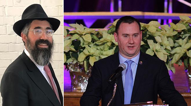Rabbi Nechemia Schusterman and Peabody Mayor Ted Bettencourt