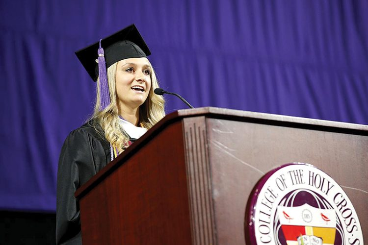 """""""We are too strong and too knowledgeable to be silenced,"""" said Isabel Block in her Holy Cross valedictory address."""