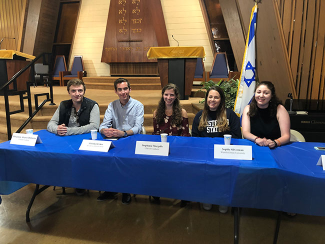 Panelists Benjamin Alvarez-Dobrusin, UMass Amherst; Zebulon Erdos, Brookline High School; Stephanie Margolis, UMass Amherst; Sophie Silverman, Westfield State University; and Elana Zabar, UNH, Durham