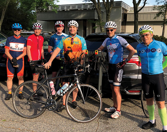 Tour de Shul riders began and ended at Temple Ner Tamid in Peabody. / Photo: Ken Turkewitz