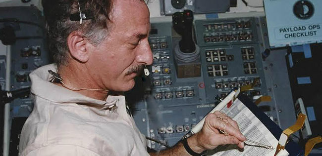 On Jeffrey Hoffman's last mission on the Space Shuttle in 1996, he read the first chapter of Genesis while orbiting the Earth.