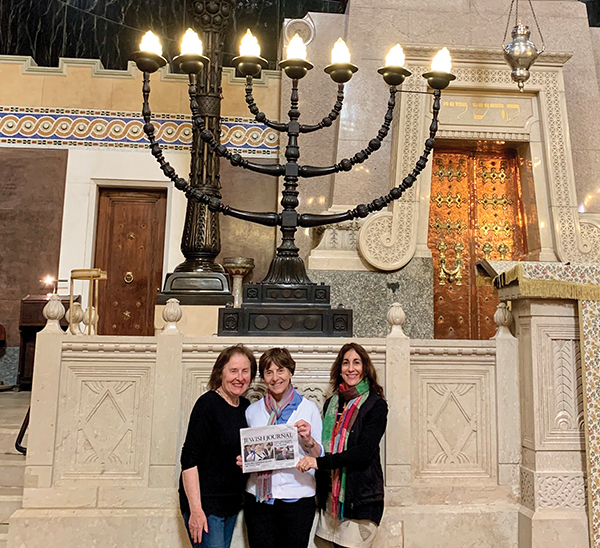 Beverly Kahn, Ann Laaff, and Suzanne Fin at The Grand synagogue in Trieste, Italy.
