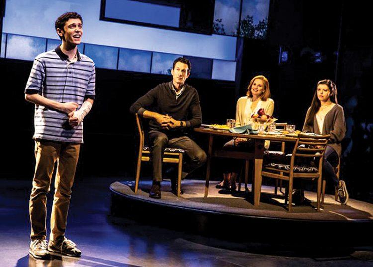 """Ben Levi Ross, Aaron Lazar, Christiane Noll, and Maggie McKenna in """"Dear Evan Hansen."""" Photo: Matthew Murphy"""