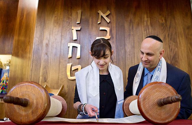 Yahli Irelander celebrates her bat mitzvah with her father Cantor Idan Irelander.