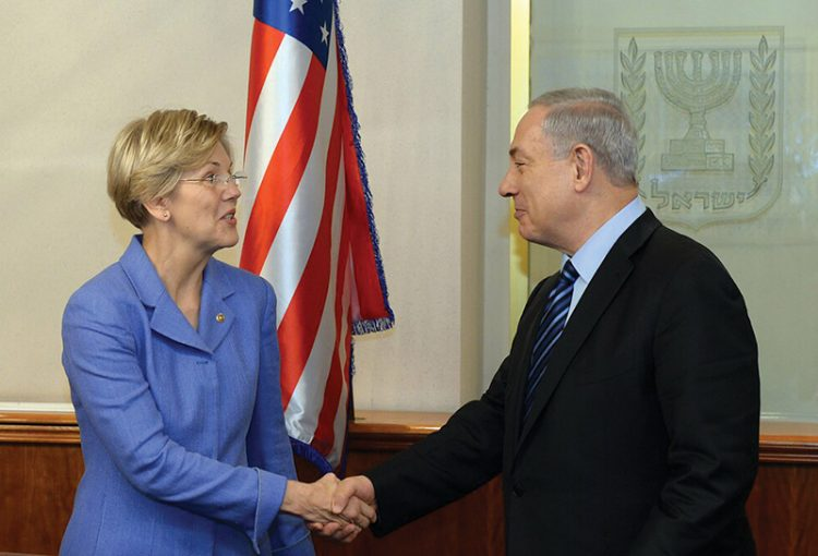 Presidential candidate Senator Elizabeth Warren has been increasingly critical of Israel and Prime Minister Benjamin Netanyahu on the campaign trail. Photo: Haim Zach / GPO