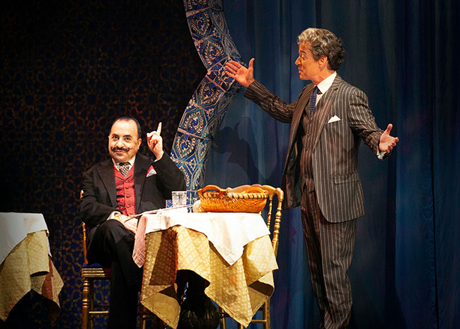 """Steven Rattazzi and Christopher Gurr in """"Murder on the Orient Express"""" at Ogunquit Playhouse. / Photo: Jay Goldsmith"""