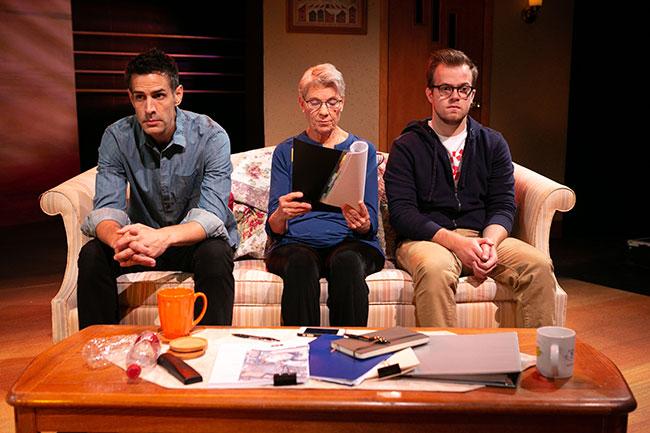 Mickey Solis, Lindsay Crouse and Derek Speedy during a rare moment of silence. / Photo: Jason Grow