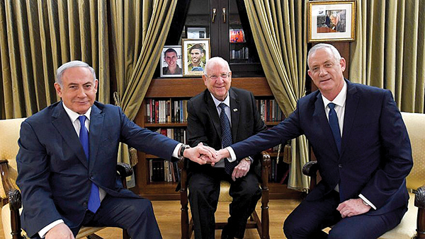 Israel's President Reuven Rivlin, center, meets with Israeli Prime Minister Benjamin Netanyahu, and Blue and White Party leader Benny Gantz. Photo: Haim Zach/GPO