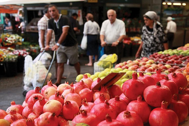In Israel, pomegranates are everywhere as Rosh Hashanah approaches.  Photo: Marc Israel Sellem