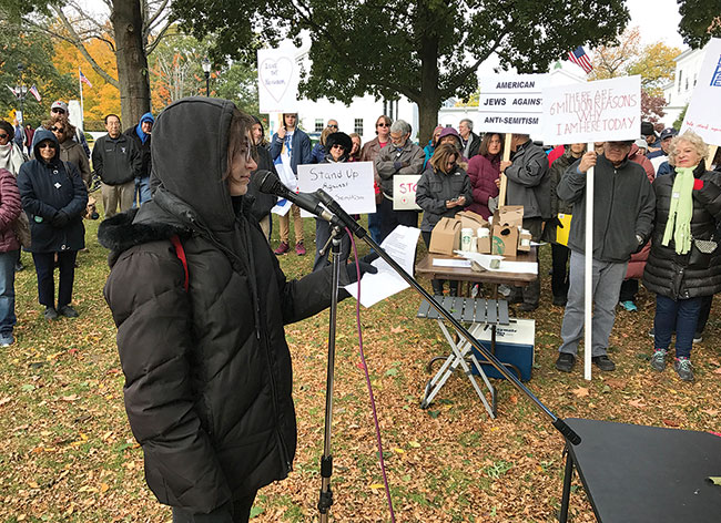 After dozens of swastikas were found in Reading schools, student Tali Shorr addressed a community-wide rally last fall. / Photo: Steven A. Rosenberg/Journal Staff