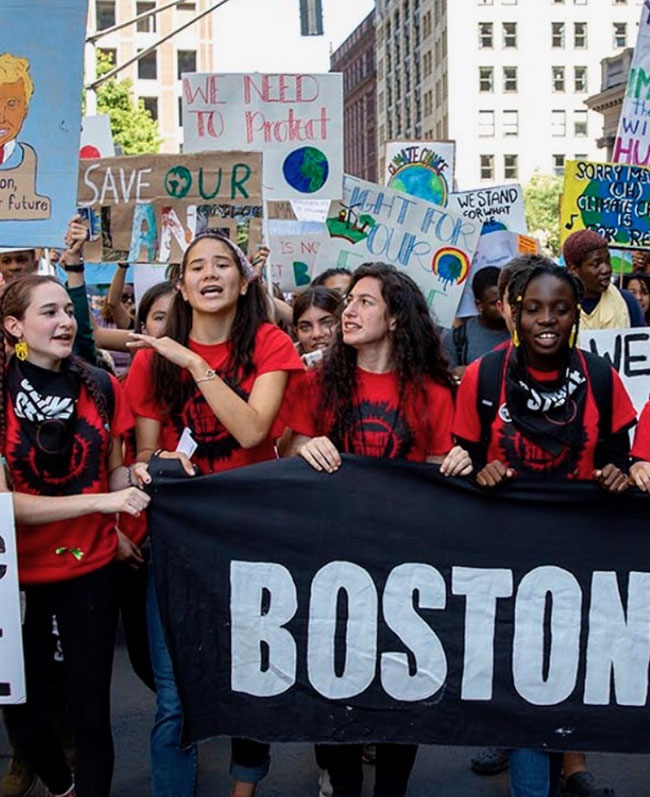 """As a Jewish young woman growing up in this society, I know the consequences if people don't take action,"" said 17-year-old Amalia Hochman (second from right)"