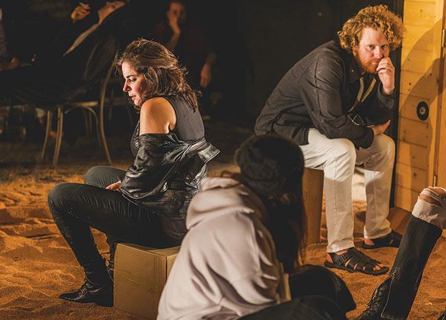 "Anne Gottlieb, Eric Andrews, and Darya Denisova in Anton Chekhov's ""The Seagull,"" staged by the Arlekin Players in Needham. / Photo: Igor Klimov"
