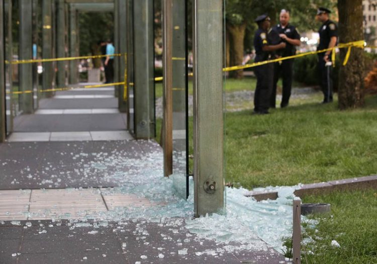 The New England Holocaust Memorial in Boston was vandalized twice in 2017.