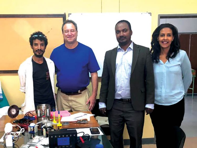 AAIT technician, Mark Gelfand, Dr. Yimam Abubeker, head of the Chemical Engineering Departmentat Addis Ababa Institute of Technology  and Kidist Gebreamlak, president of STEMpower.