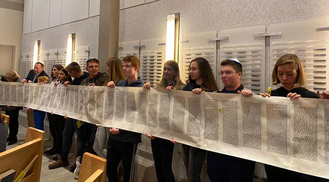 American and Israeli teens celebrate Simchat Torah at Temple Emanu-El in Marblehead.
