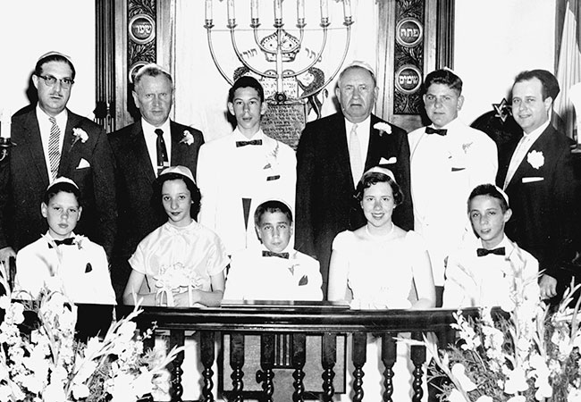 Graduating class, Peabody Hebrew School circa 1956. Front, left to right: Norman Ainbinder, Rose Levy, Joe Scholnick, (unidentified), Paul Levy. Rear, left to right: Allen Levy, Morris Shiffman (principal), Shephard Remis, David Kirstein, Aaron Gibeley and Rabbi Dr. Noah Goldstein.