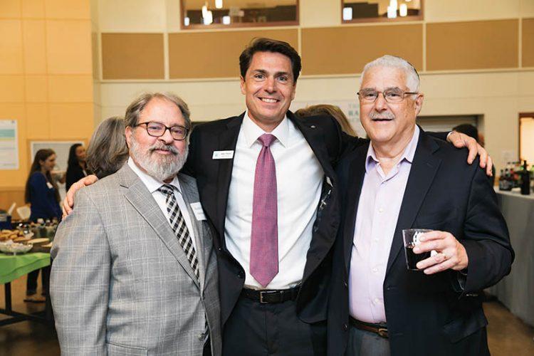 """Rabbi Richard """"Rim"""" Meirowitz, Head of School Adam W. Fischer, and Rabbi Henry Zoob."""