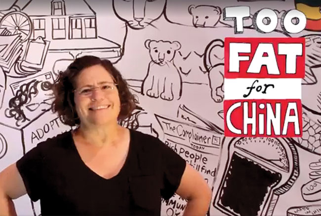 """Phoebe Potts introducing her graphic novel """"Too Fat For China."""""""