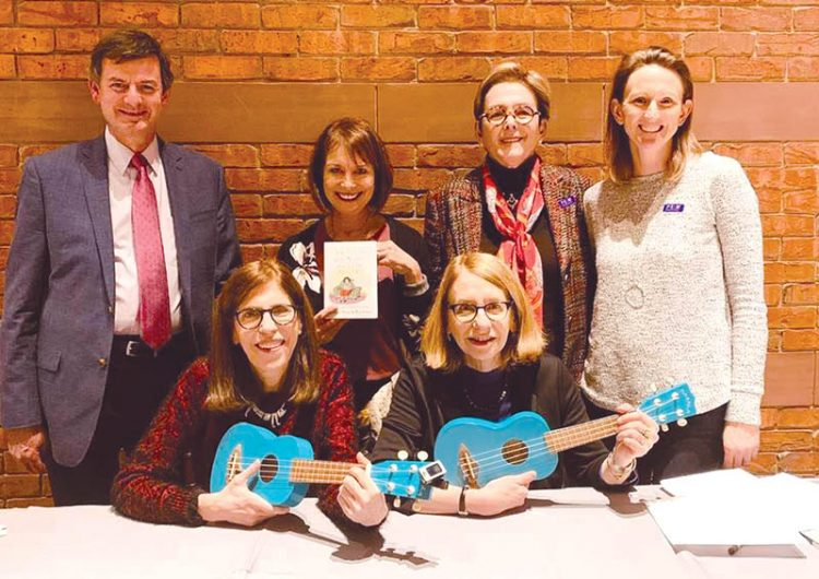 Brian Kennedy (The Rose-Marie and Eijk van Otterloo Director and CEO), Diane Knopf (JBM Committee Chair), Sharon Rich (Committee Member and Cultural Sponsor), Sara Ewing (Director of Adult Programs at the JCCNS). Front Row: Roz Chast and Patricia Marx.
