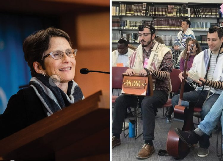 Hebrew College President Rabbi Sharon Cohen Anisfeld. At right, rabbinical students at Hebrew College study music.