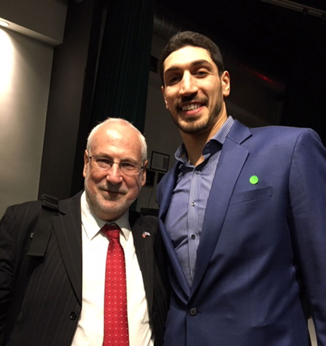 Celtics forward Enes Kanter, with Ambassador Ze'ev Boker, Consul General of Israel to New England.
