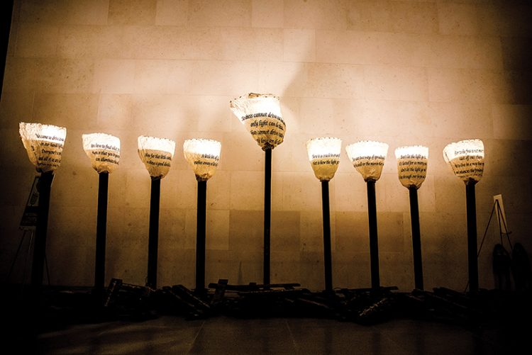 """""""Persist and Rise from Ashes,"""" a menorah by Caron Tabb, was newly commissioned by the Jewish Arts Collaborative and is installed at the Museum of Fine Arts in Boston through Jan. 5. Photos: Nir Landau/courtesy JArts Boston"""
