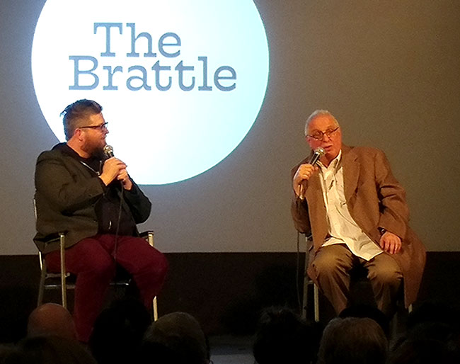 Documentary filmmaker Errol Morris talks with the audience at a Q&A at the Brattle Theatre in Cambridge.