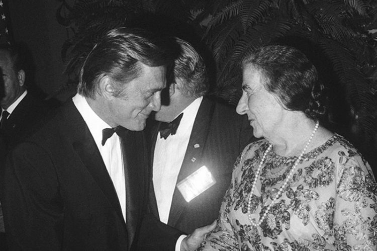 Kirk Douglas greeting former Israeli Prime Minister Golda Meir at a gala banquet at the Beverly Hilton in Los Angeles in 1969.